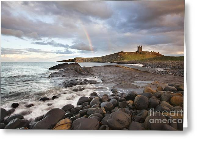 Embleton Greeting Cards - Rainbow at Dunstanburgh Castle Greeting Card by Mark Sunderland