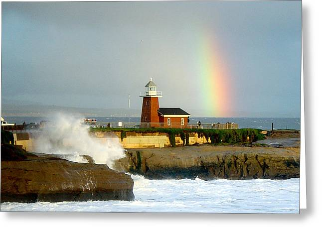 Best Sellers -  - Steamer Lane Greeting Cards - Rainbow at Santa Cruz Lighthouse Greeting Card by Randy Straka