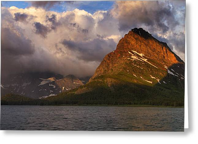Many Glacier Greeting Cards - Rainbow at Sunrise - Panorama Greeting Card by Mark Kiver