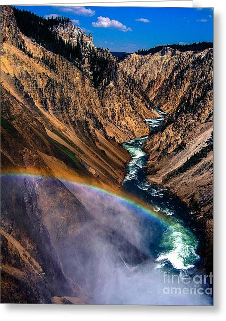 Rainbow Photographs Greeting Cards - Rainbow at the Grand Canyon Yellowstone National Park Greeting Card by Edward Fielding