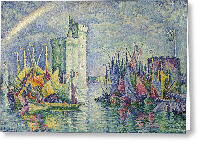 Boats At Dock Greeting Cards - Rainbow at the Port of La Rochelle Greeting Card by Paul Signac