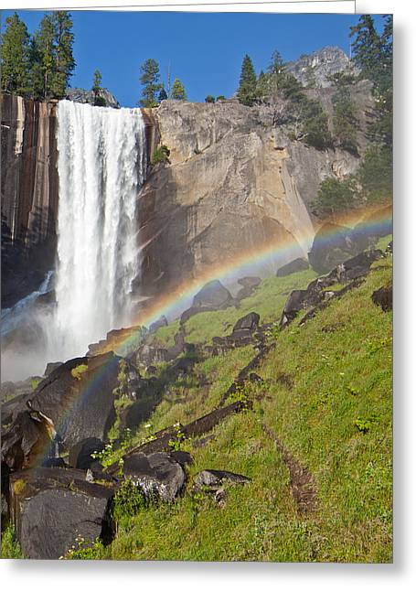 Rainbow At Vernal Falls Yosemite National Park Greeting Card by Natural Focal Point Photography