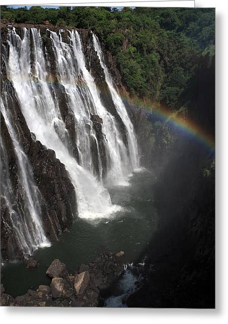 Zambezi River Greeting Cards - Rainbow At Victoria Falls Greeting Card by Aidan Moran