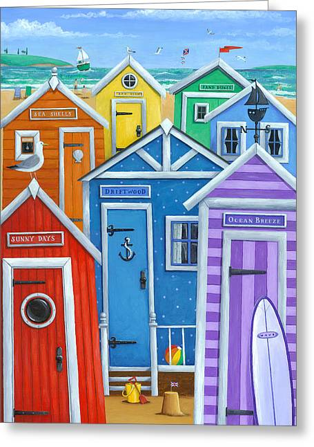 Shed Greeting Cards - Rainbow Beach Huts Greeting Card by Peter Adderley