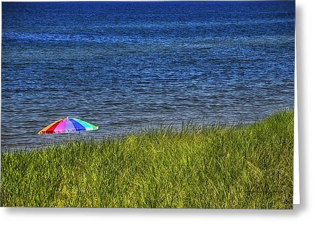 Rainbow Fantasy Art Greeting Card Greeting Cards - Rainbow Beach Umbrella Greeting Card by Thomas Woolworth