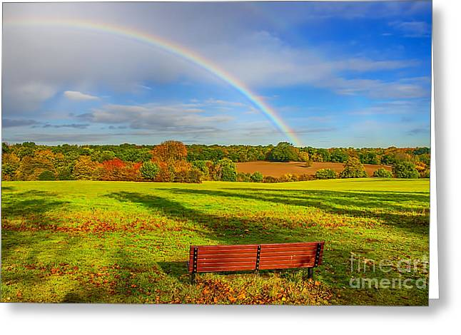 Rainbow Canvas Greeting Cards - Rainbow Bench view Greeting Card by Chris Thaxter