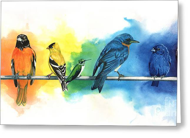 Purple Greeting Cards - Rainbow Birds Greeting Card by Antony Galbraith