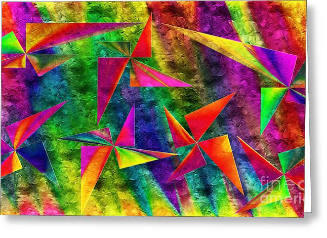 Swirls And Stripes Greeting Cards - Rainbow Bliss - Pin Wheels - Painterly - Abstract - H Greeting Card by Andee Design