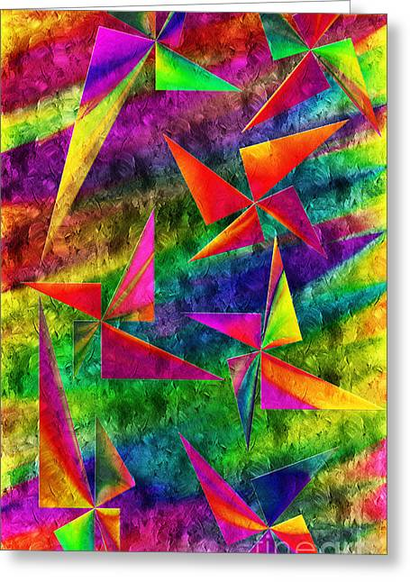 Swirls And Stripes Greeting Cards - Rainbow Bliss - Pin Wheels - Painterly - Abstract - V Greeting Card by Andee Design