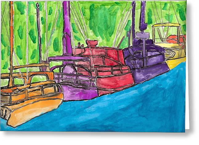 Brandon Drucker Greeting Cards - Rainbow Boats Greeting Card by Brandon Drucker