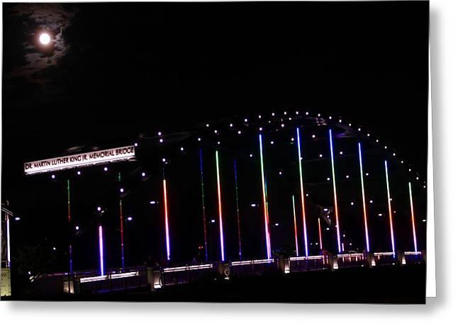 Rainbow Light Greeting Cards - Rainbow Bridge And Super Moon Greeting Card by Dan Sproul