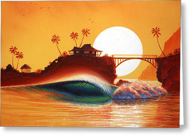 Surf Art Greeting Cards - Rainbow Bridge Greeting Card by Patrick Parker