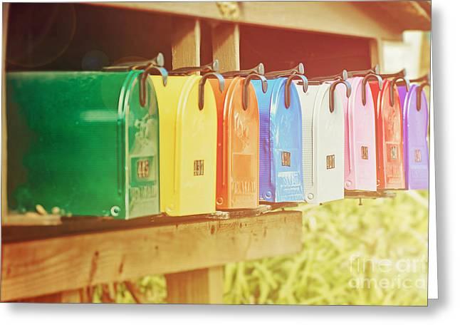 Folksy Greeting Cards - Rainbow Bright Greeting Card by Emily Enz