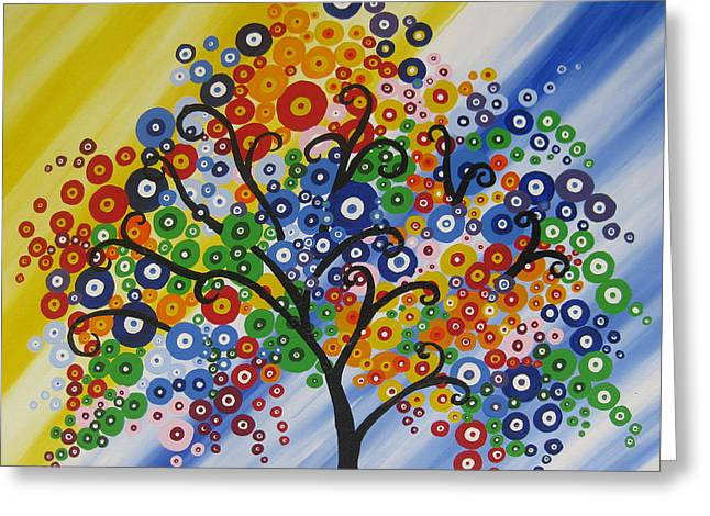 Living With Joy Greeting Cards - Rainbow Bubble Tree Greeting Card by Cathy Jacobs