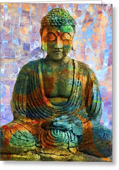 Breathing Mixed Media Greeting Cards - Rainbow Buddha Greeting Card by Dan Sproul
