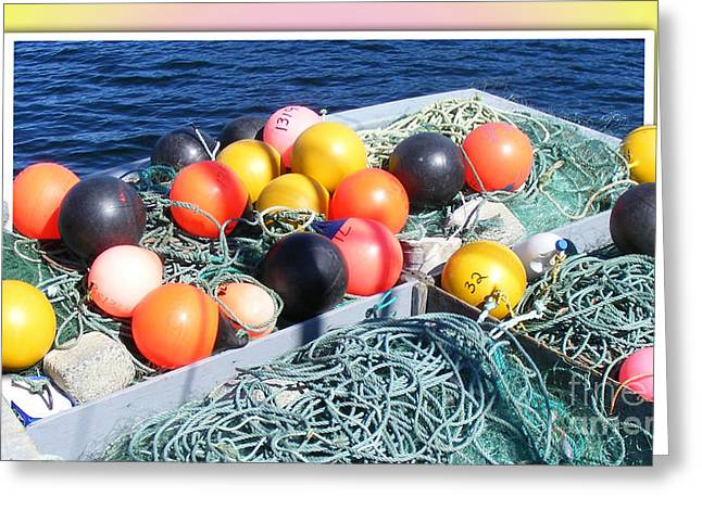 Rainbow Buoys Greeting Card by Barbara Griffin