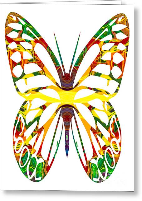 Rainbow Butterfly Abstract Nature Artwork Greeting Card by Omaste Witkowski