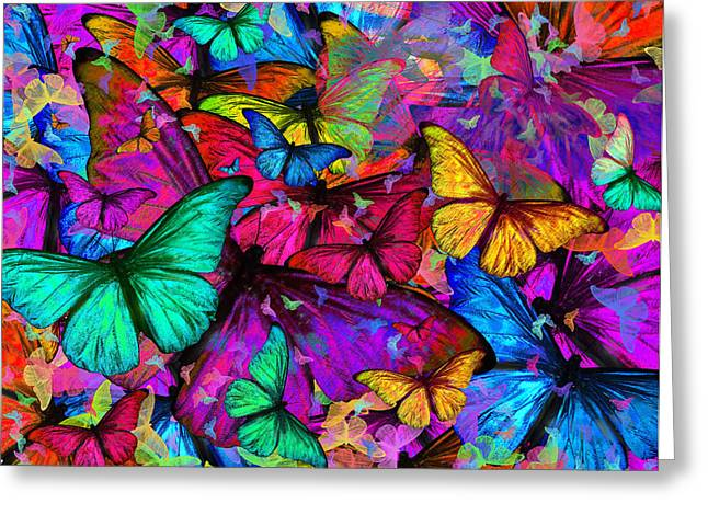 Coloured Butterfly Explosion Greeting Cards - Rainbow Butterfly Explosion Greeting Card by Alixandra Mullins