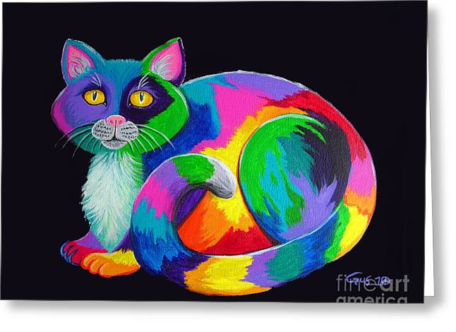 Feline Fantasy Greeting Cards - Rainbow Calico Greeting Card by Nick Gustafson