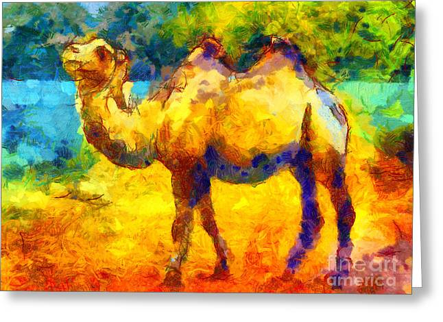 Trippy Greeting Cards - Rainbow Camel Greeting Card by Pixel Chimp