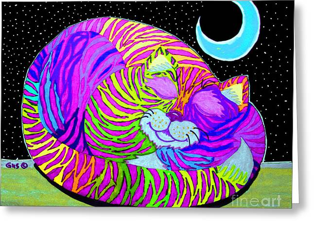 Cat Drawings Greeting Cards - Rainbow Cat Blue Moon Greeting Card by Nick Gustafson