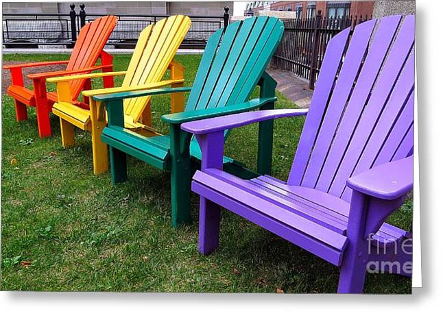 Lawn Chair Greeting Cards - Rainbow Chairs Greeting Card by J L Kempster