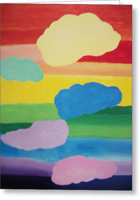 Chakra Rainbow Greeting Cards - Rainbow Chakra Healing Clouds Greeting Card by Leonardo Vidal