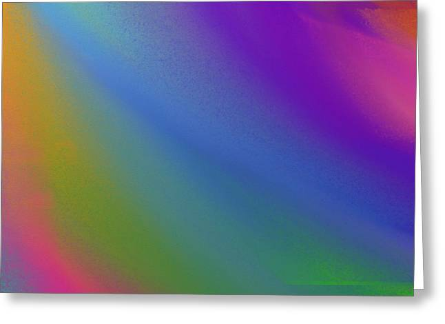 Blue Green Wave Greeting Cards - Rainbow Color Wave Abstract Square Greeting Card by Andee Design