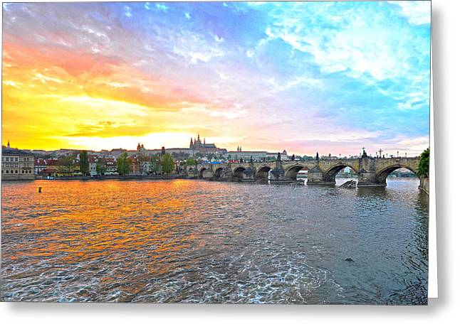 Czech Pyrography Greeting Cards - Rainbow Colors Prague Greeting Card by Steffen Schumann