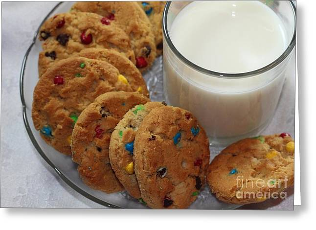 Milk And Cookies Greeting Cards - Rainbow Cookies and Milk 2 - Food Art - Kitchen - Children Greeting Card by Barbara Griffin
