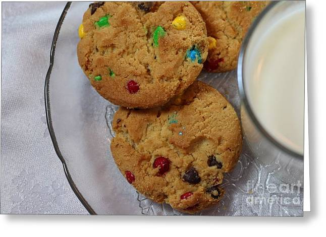 Milk And Cookies Greeting Cards - Rainbow Cookies and Milk 3 - Food Art - Children Greeting Card by Barbara Griffin