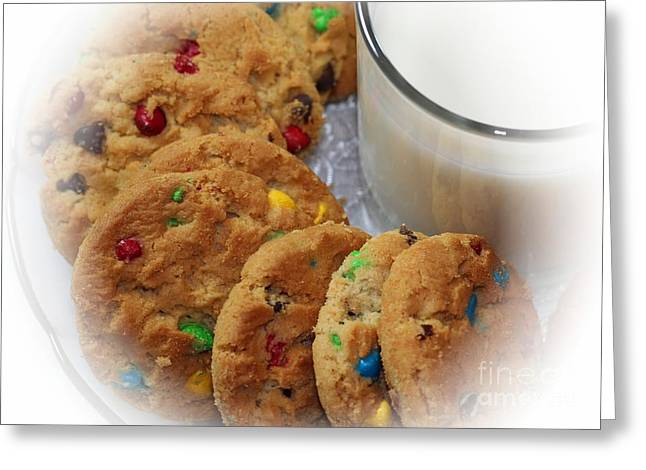 Cookies And Milk Greeting Cards - Rainbow Cookies and Milk - Food Art - Kitchen Greeting Card by Barbara Griffin