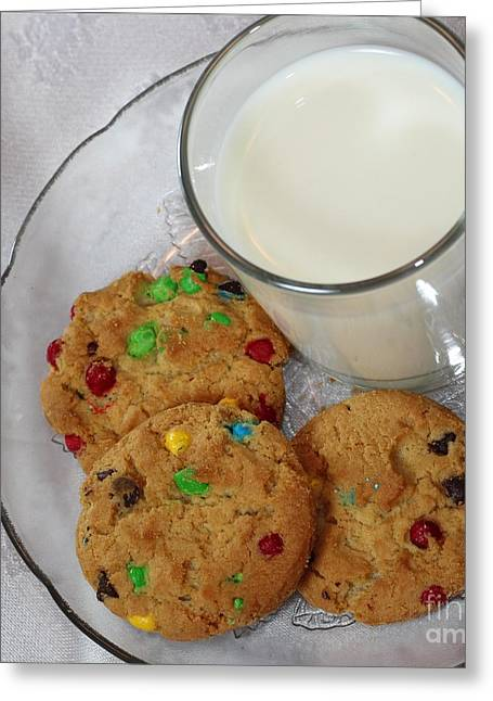 Cookies And Milk Greeting Cards - Rainbow Cookies and Milk Square - Food Art - Children Greeting Card by Barbara Griffin