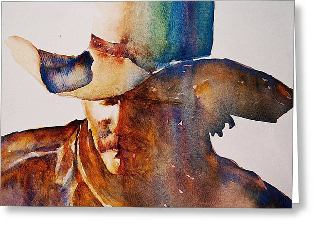 Mustache Greeting Cards - Rainbow Cowboy Greeting Card by Jani Freimann