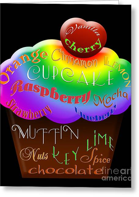 Orange And Brown Designs Greeting Cards - Rainbow Cupcake Typography Greeting Card by Andee Design