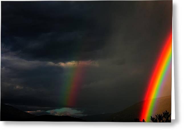 Double Rainbow Greeting Cards - Rainbow Curtain Greeting Card by Mavis Reid Nugent