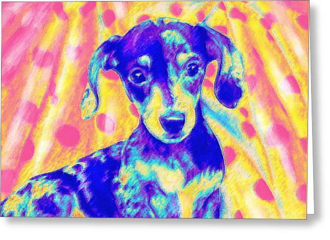 Dachshund Puppy Digital Art Greeting Cards - Rainbow Dachshund Greeting Card by Jane Schnetlage