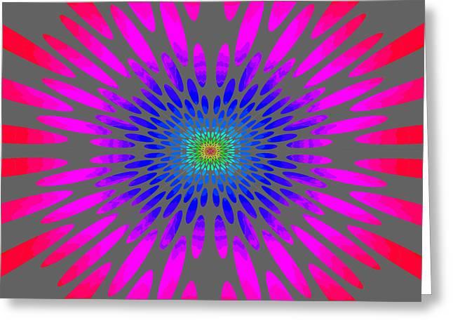 Tibetan Buddhism Greeting Cards - Rainbow Daisy Mandala Blue Pink Red Greeting Card by Paul Ashby
