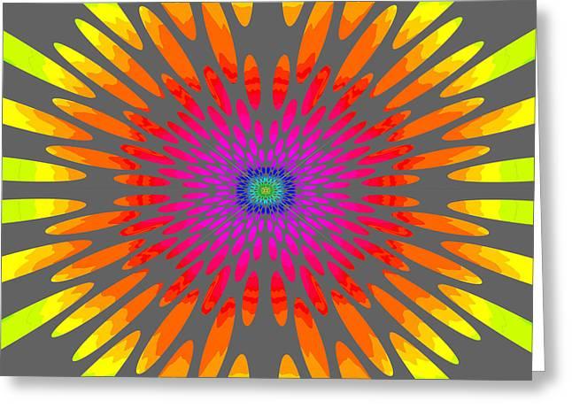 Tibetan Buddhism Greeting Cards - Rainbow Daisy Mandala  c2014  Greeting Card by Paul Ashby