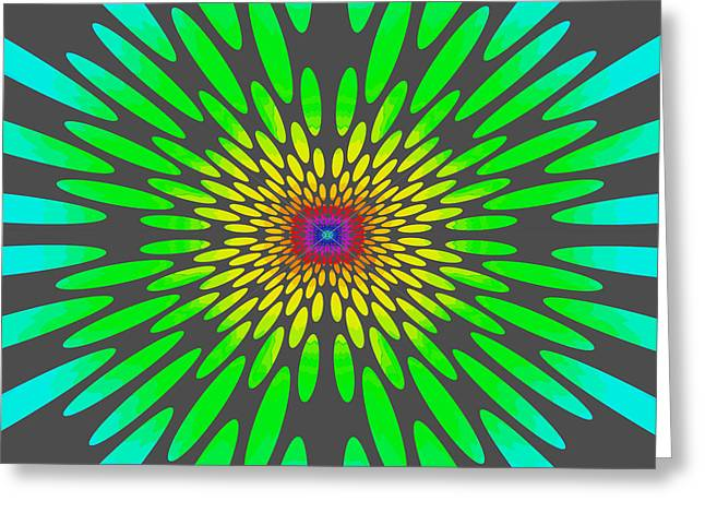 Tibetan Buddhism Greeting Cards - Rainbow Daisy Mandala Green Greeting Card by Paul Ashby