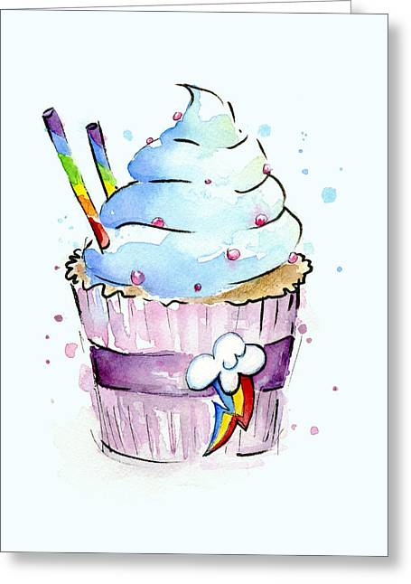 Watercolor! Paintings Greeting Cards - Rainbow-Dash-Themed Cupcake Greeting Card by Olga Shvartsur