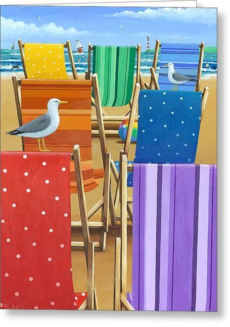 Deckchair Greeting Cards - Rainbow Deckchairs Greeting Card by Peter Adderley