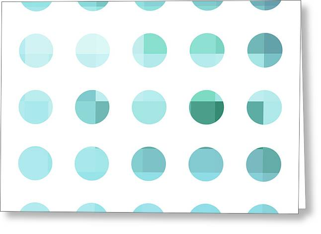Rainbow Dots Aqua  Greeting Card by Pixel Chimp