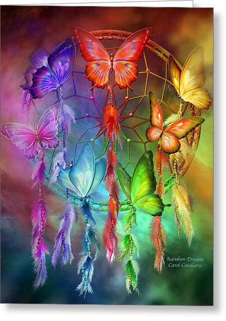 Spirit Catcher Greeting Cards - Rainbow Dreams Greeting Card by Carol Cavalaris