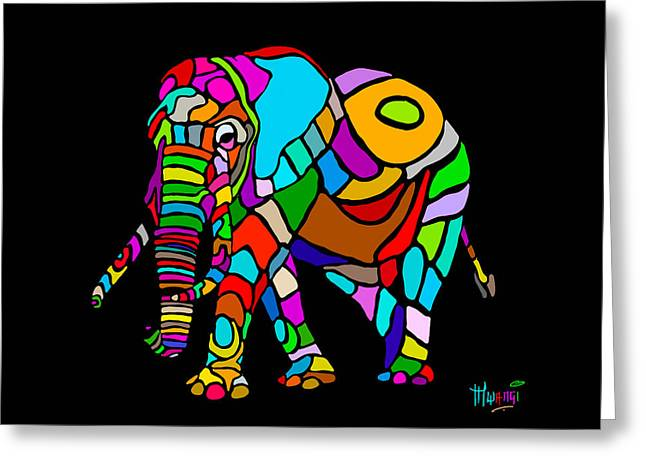 Tablets Greeting Cards - Rainbow Elephant Greeting Card by Anthony Mwangi