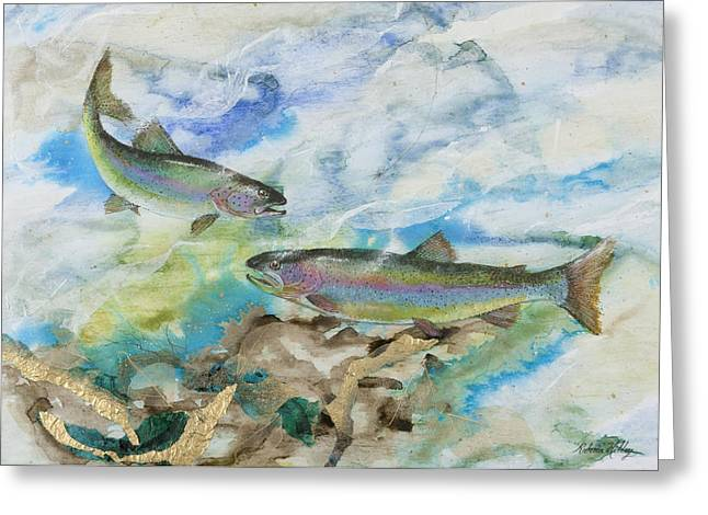 Rainbow Trout Greeting Cards - Rainbow Encounter Greeting Card by Rebecca Hilley