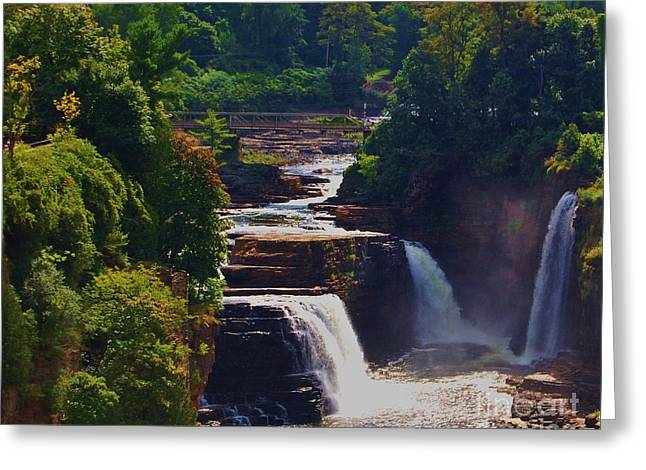 Picnic Invitation Greeting Cards - Rainbow Falls Ausable Chasm Greeting Card by Courtney Dagan