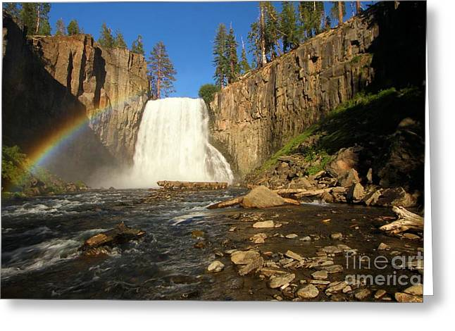 Double Rainbow Photographs Greeting Cards - Rainbow Falls Creek Greeting Card by Adam Jewell