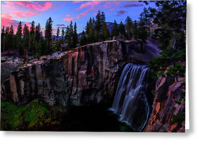 Blue Mountains Red Greeting Cards - Rainbow Falls Devils Postpile National Monument Greeting Card by Scott McGuire