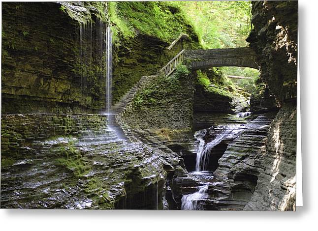 Stepping Stones Greeting Cards - Rainbow Falls Greeting Card by Gene Walls